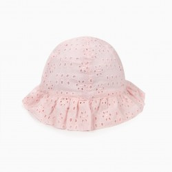 BABY GIRL HAT WITH ENGLISH EMBROIDERY, PINK