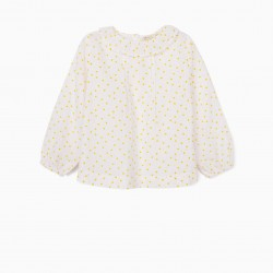BLOUSE FOR BABY GIRL 'DOTS', WHITE / YELLOW