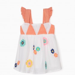 BABY GIRL EMBROIDERED TANK TOP, WHITE
