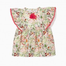 BLOUSE FOR BABY GIRL 'FLOWERS' WITH TASSELS, WHITE