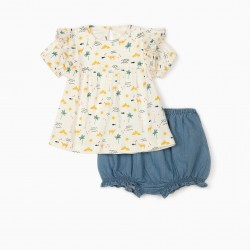 CAMELS BABY GIRL DENIM T-SHIRT AND SHORTS, WHITE / BLUE