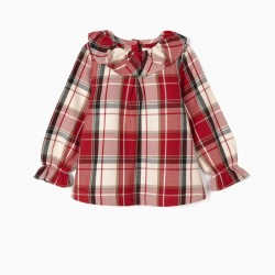 CHECKERED BLOUSE FOR BABY GIRL 'B&S', RED / WHITE