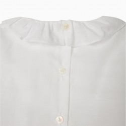 BLOUSE WITH FRILLS FOR BABY GIRL 'B&S', WHITE
