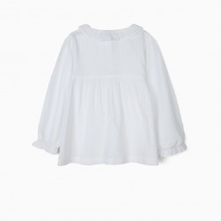 GIRLS BLOUSE WITH RUFFLES AND PLEATS, WHITE