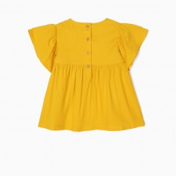 BABY GIRL'S BLOUSE WITH EMBROIDERY, YELLOW