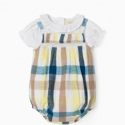 JUMPSUIT AND BODY-BLOUSE FOR NEWBORN 'B&S', CHESS/WHITE