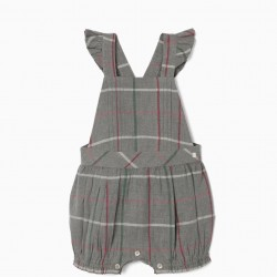 CHECKERED JUMPSUIT FOR BABY GIRL, GRAY