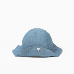 DENIM HAT FOR BABY GIRL WITH BUTTON, LIGHT BLUE