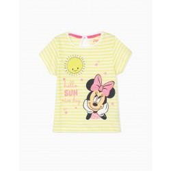 STRIPED T-SHIRT FOR BABY GIRL 'MINNIE', LIME YELLOW / WHITE