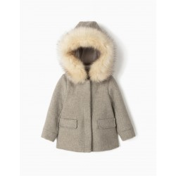 OVERCOAT WITH WOOL FOR BABY GIRL, GRAY