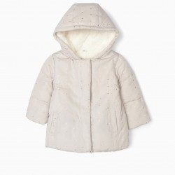 PADDED JACKET FOR BABY GIRL 'DOTS', BEIGE