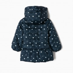 QUILTED JACKET FOR BABY GIRL 'STARS', DARK BLUE