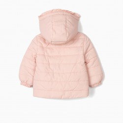 PADDED JACKET FOR BABY GIRL WITH FRILLS, PINK