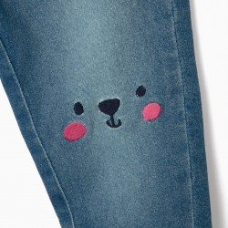 DENIM PANTS FOR BABY GIRL 'CUTE BEAR', BLUE