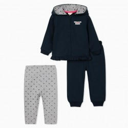 3 PIECE SET FOR BABY GIRL 'CREATIVE MINDS', BLUE/GREY