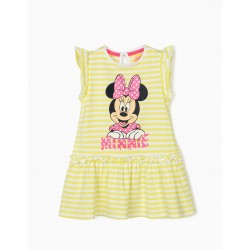 STRIPED DRESS FOR BABY GIRL 'MINNIE', LIME YELLOW / WHITE