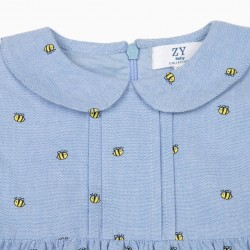 BABY GIRL 'BEES' BABY DIAPER COVER, BLUE