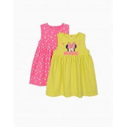 2 JERSEY DRESSES FOR BABY GIRL 'MINNIE MOUSE', PINK / LIME YELLOW