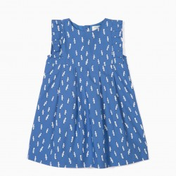 BABY GIRL DRESS 'B&S' SEAGULLS, BLUE