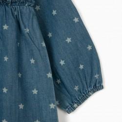 DENIM DRESS FOR BABY GIRL 'STARS', BLUE