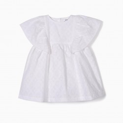 BABY GIRL DRESS AND DIAPER COVER WITH EMBROIDERY, WHITE