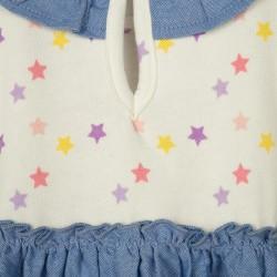 'STARS' BABY GIRL COMBO DRESS, WHITE / BLUE