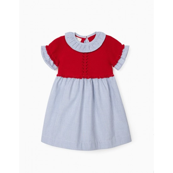 TWO MATERIAL BABY GIRL DRESS, RED / STRIPED
