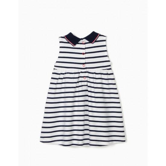 PIQUÉ DRESS FOR BABY GIRL 'SAILOR', WHITE / DARK BLUE