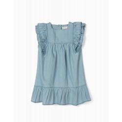 DENIM DRESS FOR BABY GIRL 'COMFORT DENIM', LIGHT BLUE