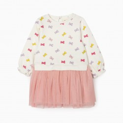 BABY GIRL BOWS COMBO DRESS, WHITE/PINK
