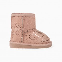 BABY GIRL BOOTS 'DOTS', PINK