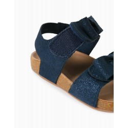 SPARKLY SANDALS FOR BABY GIRL, DARK BLUE / SILVER