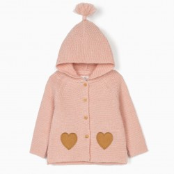 BABY GIRL HOODED KNITTED COAT, PINK