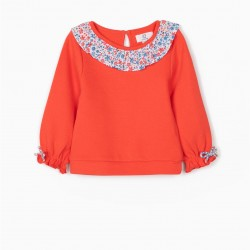 CORAL BABY SWEATSHIRT FOR BABY GIRL, CORAL