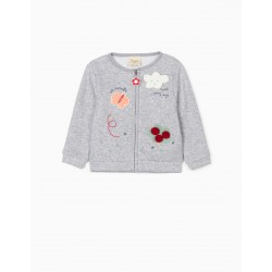 CARDIGAN FOR BABY GIRL 'CUTE BUTTERFLY', GRAY