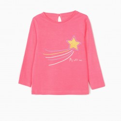 2 LONG SLEEVE T-SHIRTS FOR BABY GIRL 'SUN', PINK / WHITE