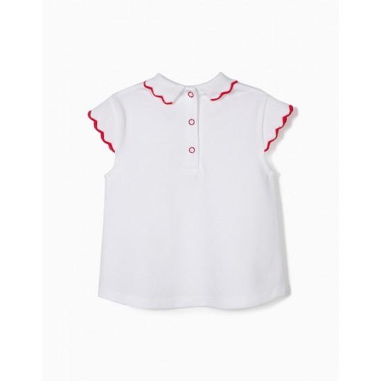 PIQUÉ T-SHIRT FOR BABY GIRL, WHITE