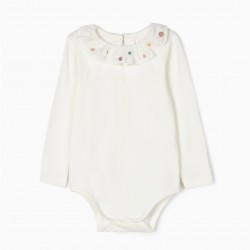 BABY BODYSUIT WITH EMBROIDERY, WHITE