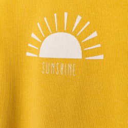 2 RIBBED T-SHIRTS FOR BABY GIRL 'SUNSHINE', YELLOW / WHITE