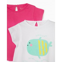 2 T-SHIRTS FOR BABY GIRL 'WALK BY THE SEA', WHITE / PINK
