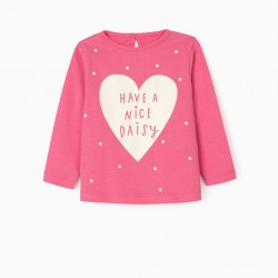 'NICE DAISY' LONG SLEEVE BABY GIRL T-SHIRT, PINK