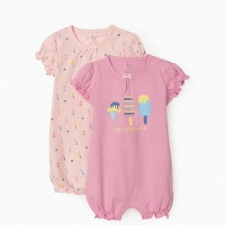 2 BABYGROWS SHORT SLEEVE FOR BABY GIRL 'ICE CREAMS', PINK