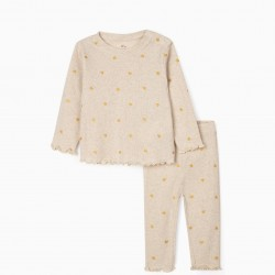 'HEARTS' RIBBED BABY GIRL PAJAMAS, BLENDED BEIGE