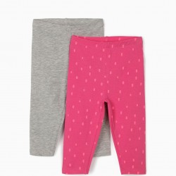2 LEGGINGS FOR BABY GIRL 'DOTS', PINK / GRAY