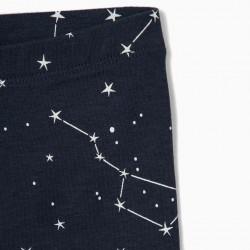 2 LEGGINGS FOR BABY GIRL 'STARS', PINK / DARK BLUE