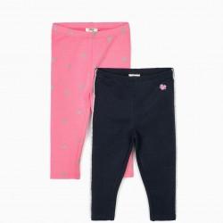 2 LEGGINGS FOR BABY GIRL 'MINNIE', PINK / DARK BLUE