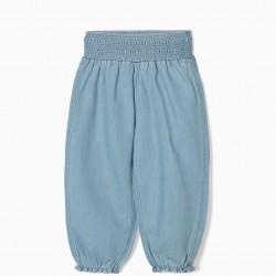 COMFORT DENIM BABY GIRL PANTS, LIGHT BLUE
