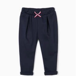 BABY GIRL PANTS WITH BOW, DARK BLUE