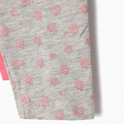 2 LEGGINGS FOR BABY GIRL 'FLOWERS', GRAY AND PINK