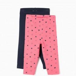 2 LEGGINGS FOR BABY GIRL 'STARS', PINK AND DARK BLUE